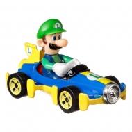 Super Mario Kart - Réplique métal Hot Wheels 1/64 Luigi (Mach 8) 8 cm