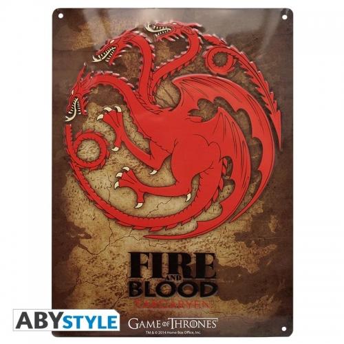 Game of Thrones - Plaque métal Targaryen