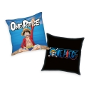 One Piece - Oreiller Logo & Monkey D. Luffy 40 x 40 cm
