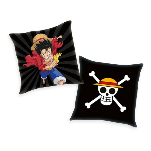 One Piece - Oreiller Skull & Monkey D. Luffy 40 x 40 cm