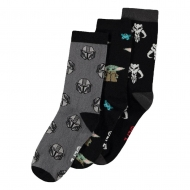 Star Wars : The Mandalorian - Pack 3 paires de chaussettes Three Icons taille 39-42